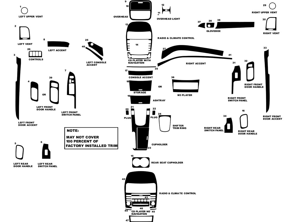 Acura TSX 2004-2008 Dash Kit Diagram