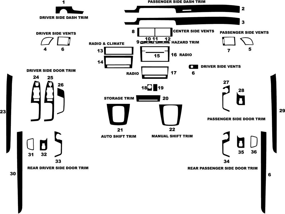 audi a4 2005-2008 dash kit diagram
