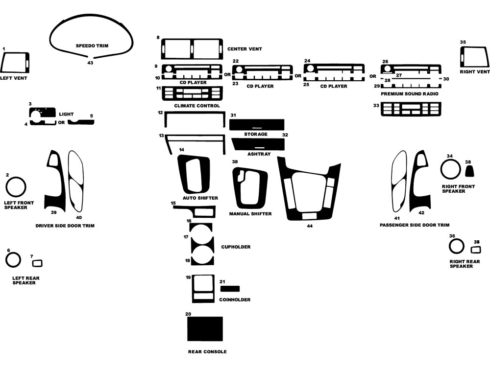 BMW 3-Series 1999-2005 Dash Kit Diagram