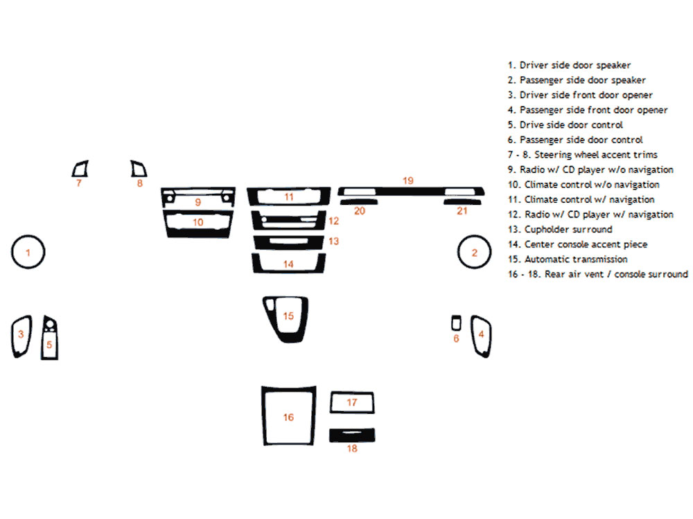 BMW 3-Series Coupe 2006-2013 Dash Kit Diagram