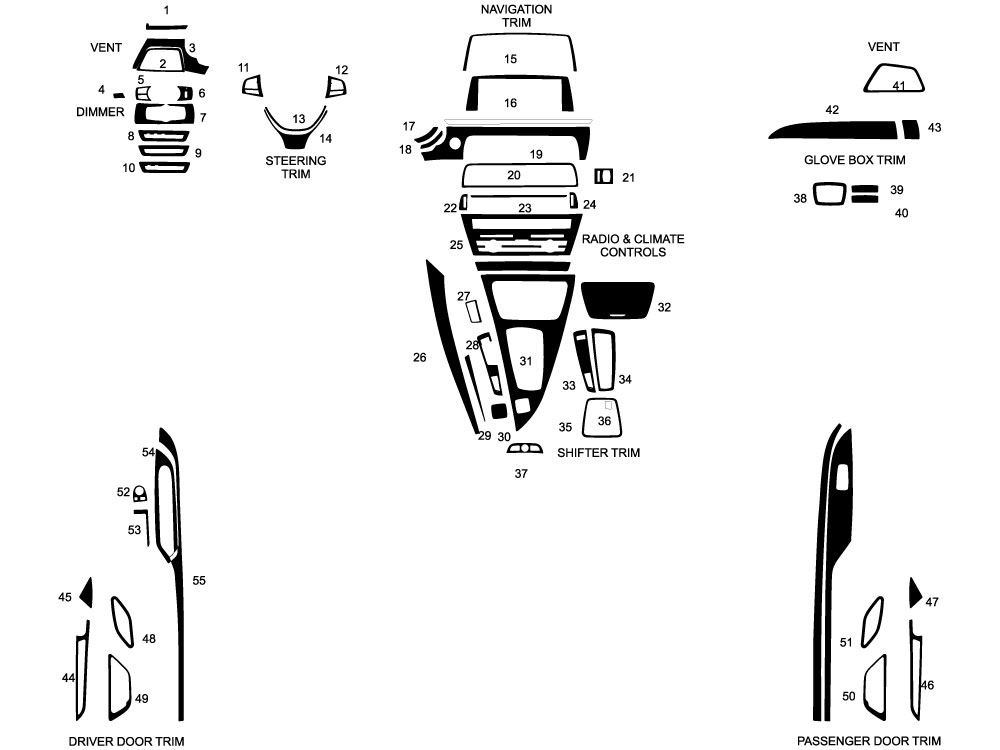 BMW 6-Series 2012-2015 Dash Kit Diagram