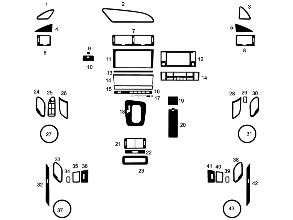 BMW 7-Series 1995-2001 Dash Kit Diagram