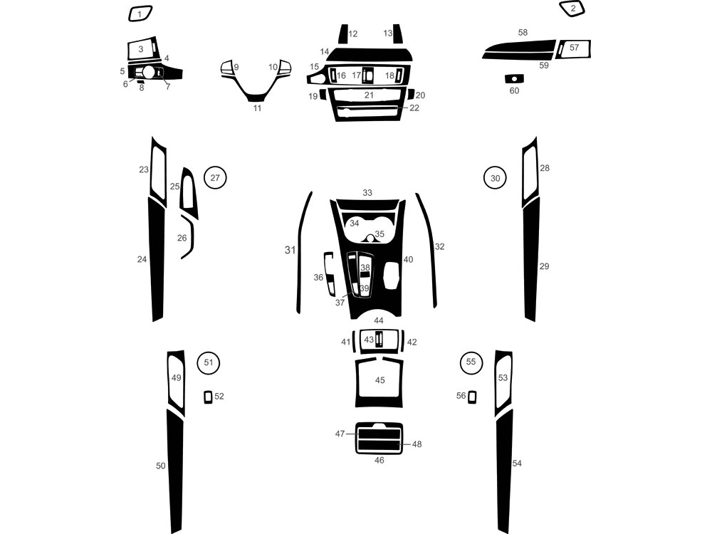 BMW X3 2011-2016 Dash Kit Diagram