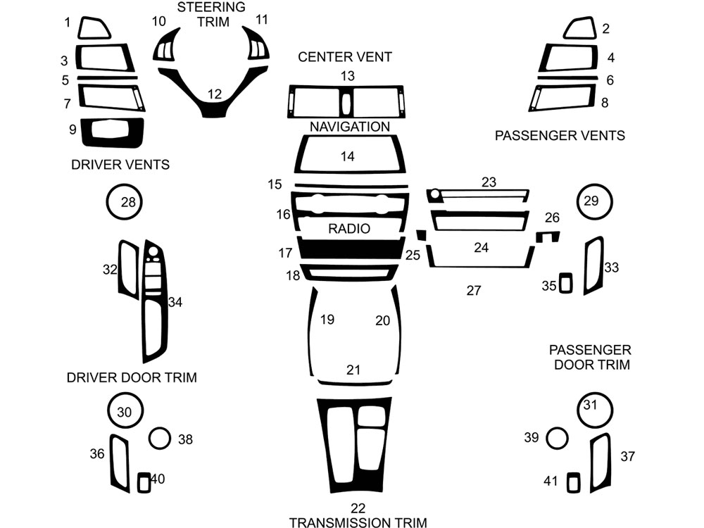 BMW X6 2008-2014 Dash Kit Diagram