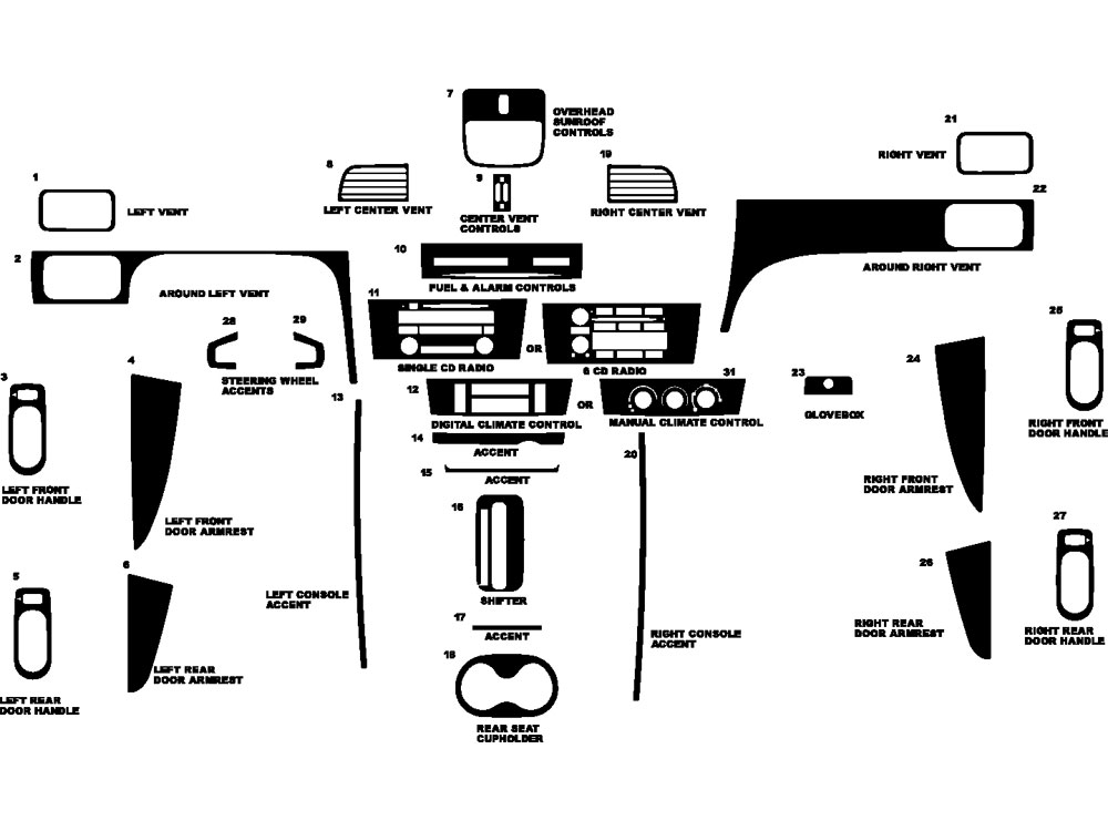 Buick Lacrosse 2005-2009 Dash Kit Diagram