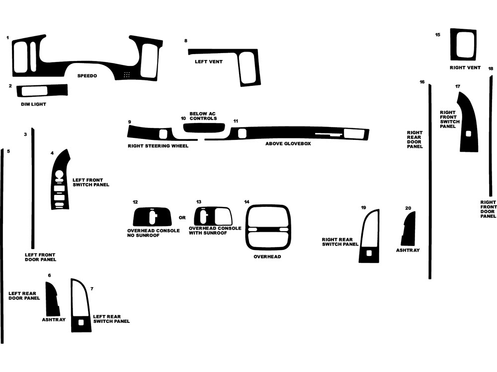 Buick Park Avenue 2000-2003 Dash Kit Diagram