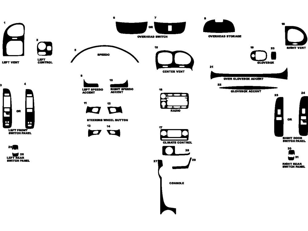 Buick Rainier 2004-2007 Dash Kit Diagram