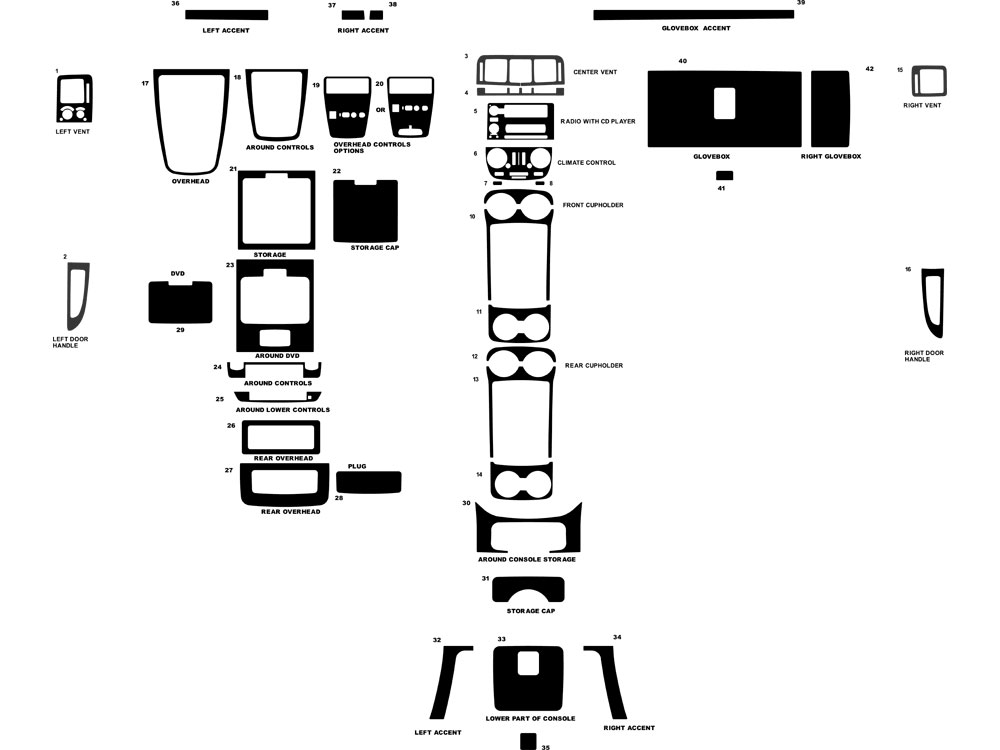 Buick Terraza 2005-2007 Dash Kit Diagram