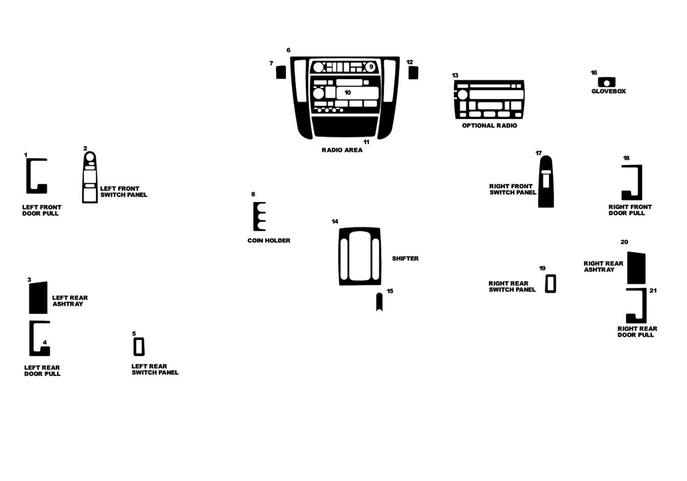 Cadillac Catera 2000-2001 Dash Kit Diagram