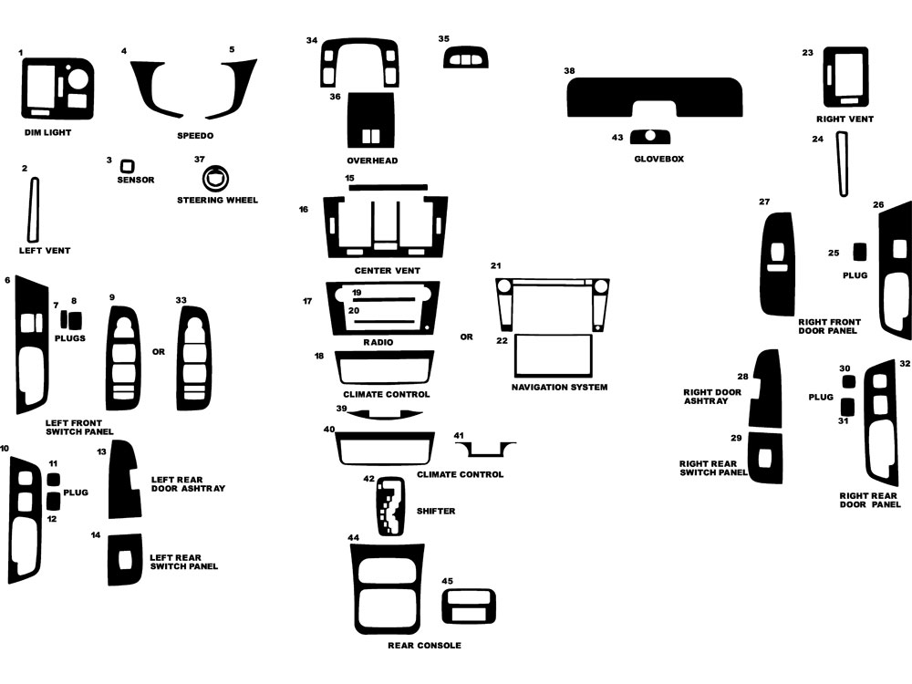 Cadillac DTS 2006-2011 Dash Kit Diagram