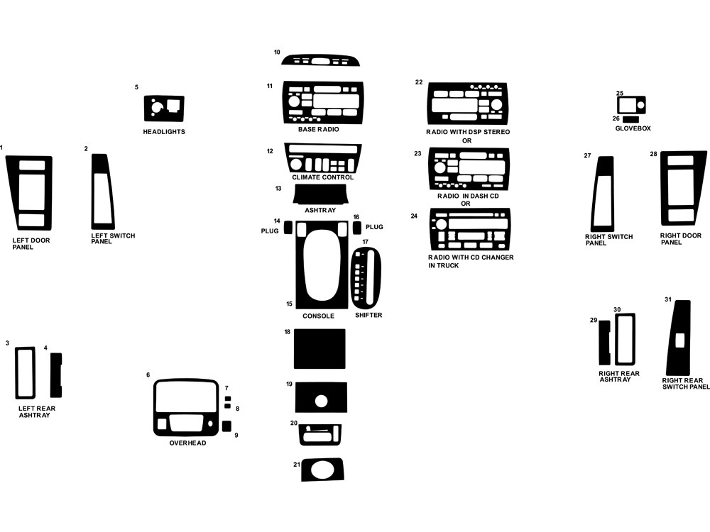 Cadillac Eldorado 1996-1997 Dash Kit Diagram