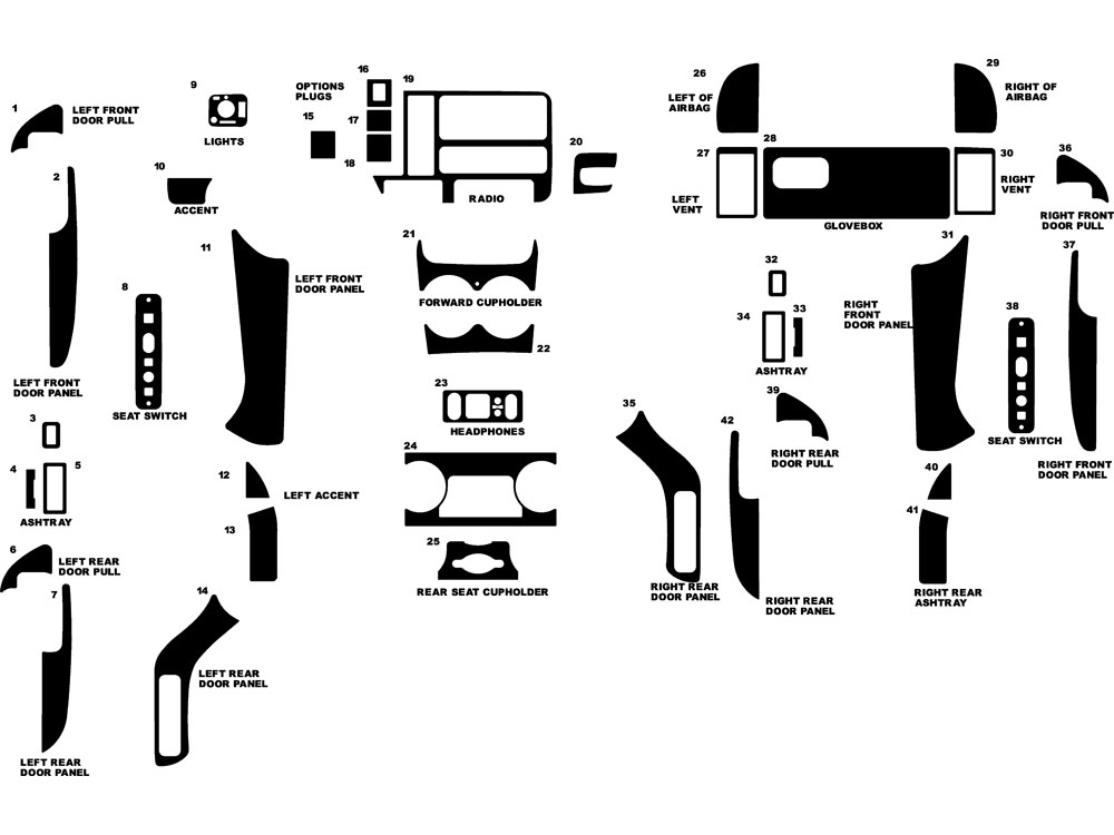 Cadillac Escalade 1999-2000 Dash Kit Diagram