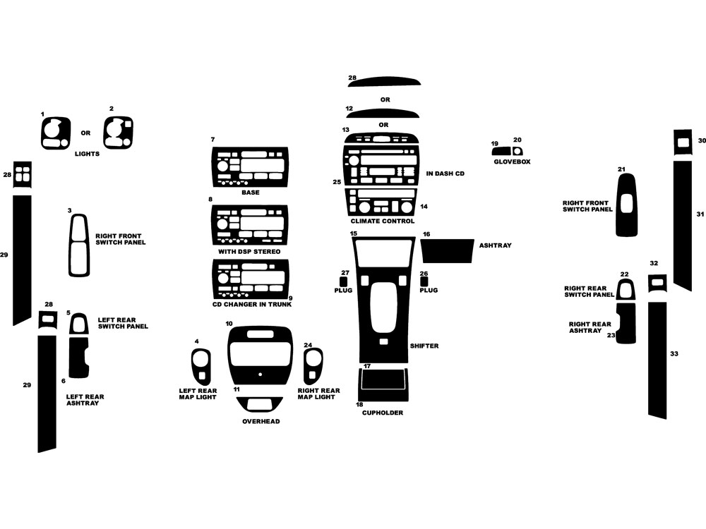 Cadillac Seville 1998-2004 Dash Kit Diagram