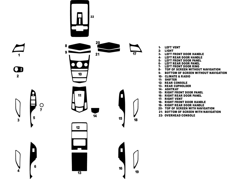Cadillac SRX 2010-2012 Dash Kit Diagram