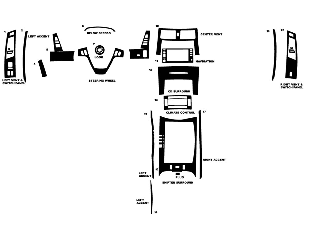 Cadillac XLR 2004-2009 Dash Kit Diagram