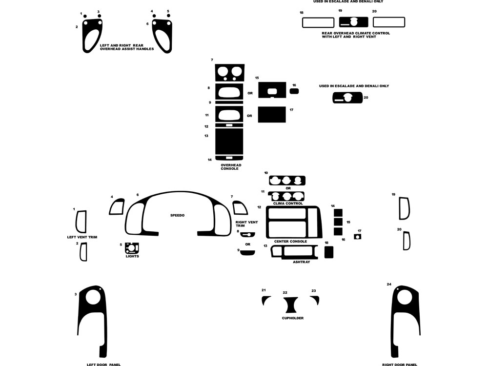 GMC Safari 1996-2005 Dash Kit Diagram