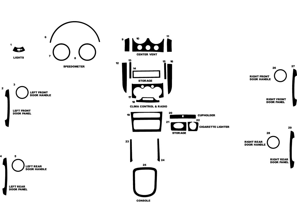 Chevrolet Aveo Sedan 2004-2006 Dash Kit Diagram