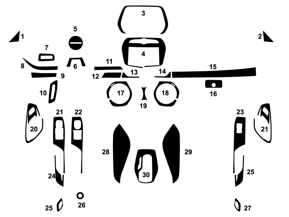 Chevrolet Camaro 2016-2020 Dash Kit Diagram