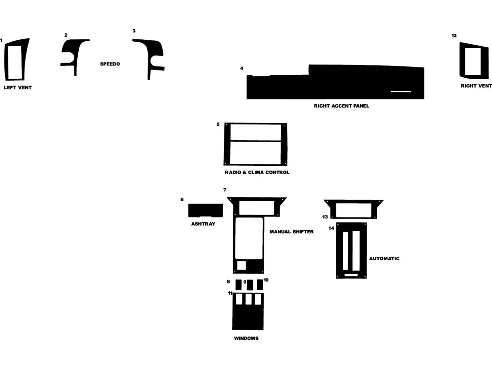 Chevrolet Camaro 1990-1993 Dash Kit Diagram