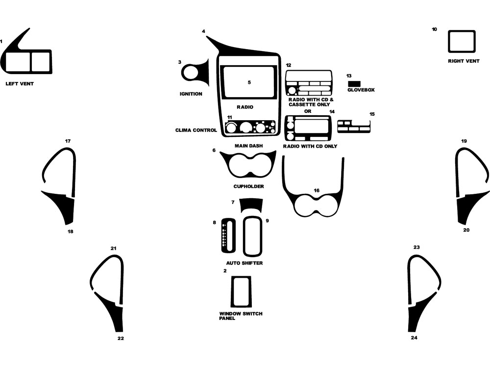 Chevrolet Cavalier 2000-2005 Dash Kit Diagram