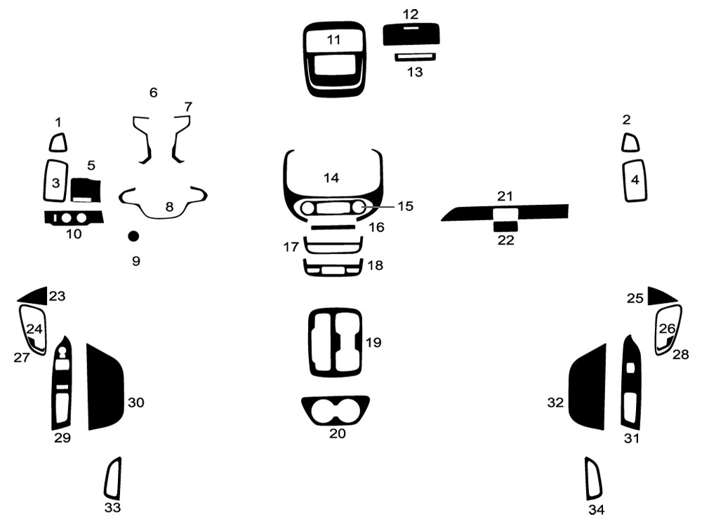 GMC Canyon 2015-2020 Dash Kit Diagram