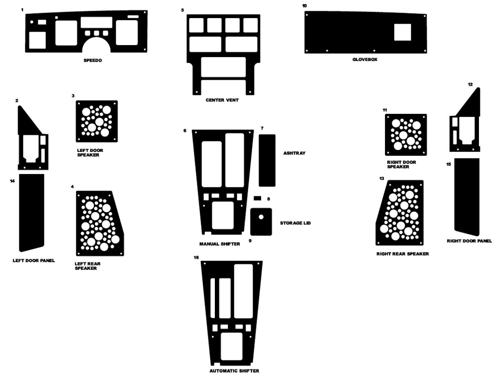 Chevrolet Corvette 1984-1989 Dash Kit Diagram