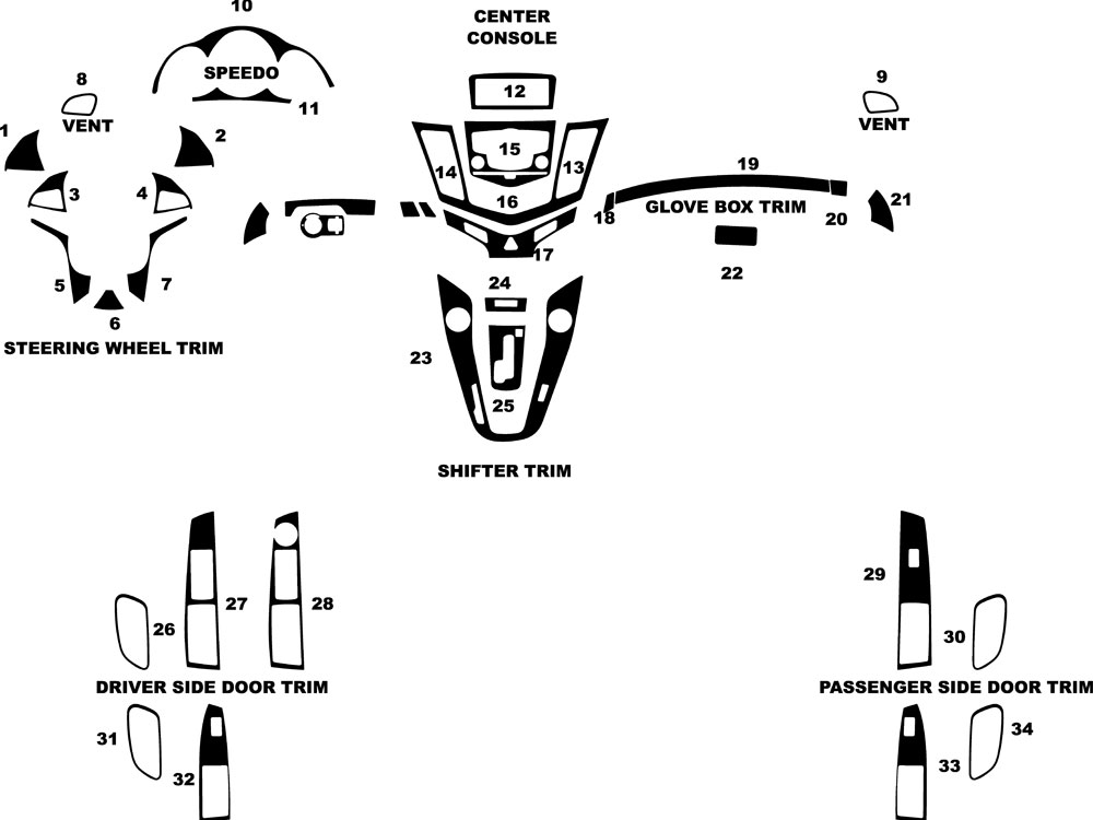 Chevrolet Cruze 2011-2015 Dash Kit Diagram