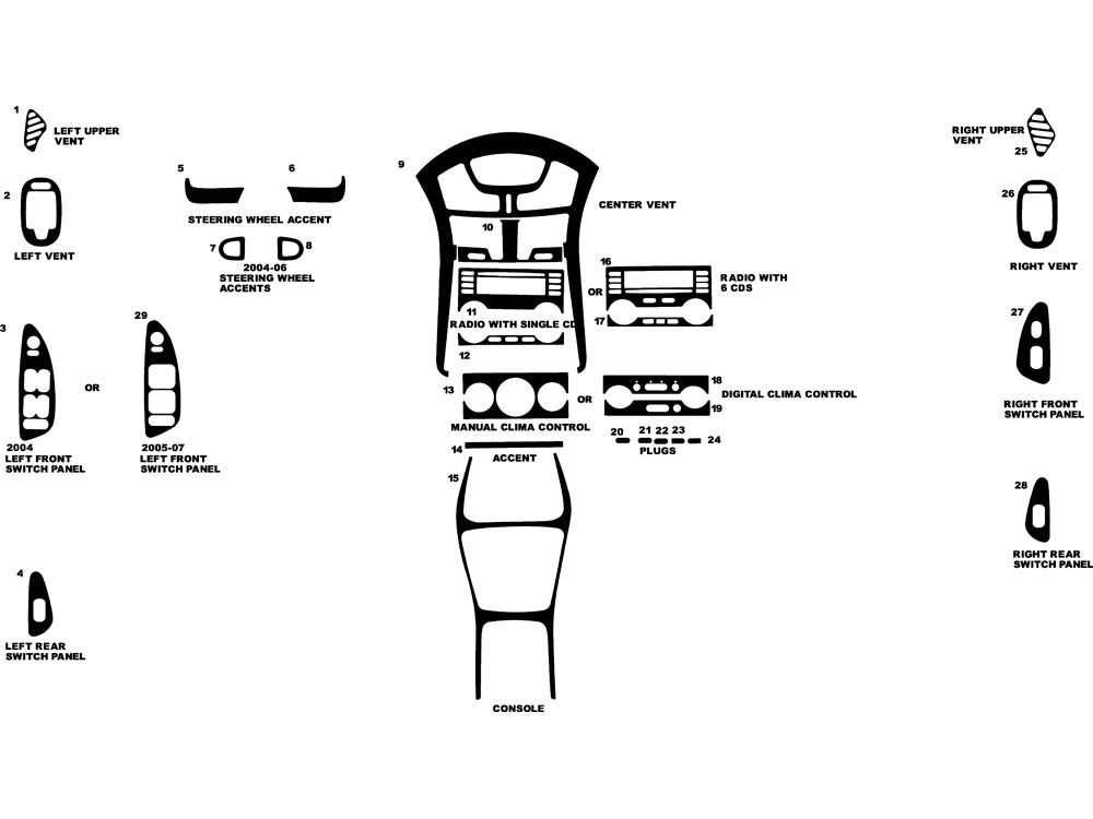 Chevrolet Malibu 2004-2007 Dash Kit Diagram