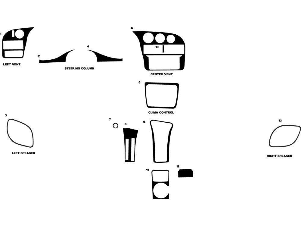 Chevrolet Monte Carlo 1995-1999 Dash Kit Diagram