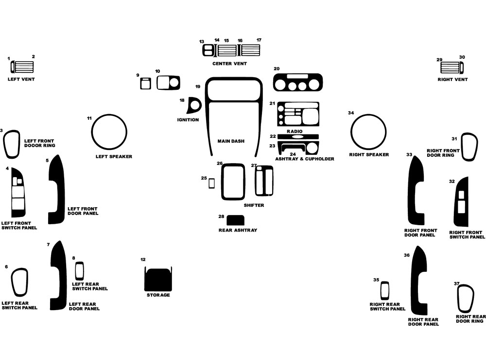 Chevrolet Prizm 1998-2002 Dash Kit Diagram