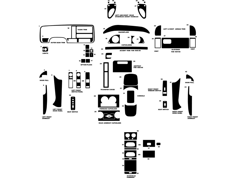 Chevrolet Pick Up Full Size 1995-1999 Dash Kit Diagram