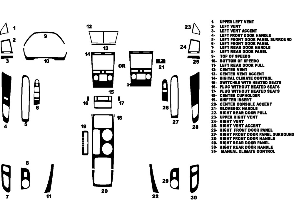 Chevrolet Traverse 2009-2012 Dash Kit Diagram