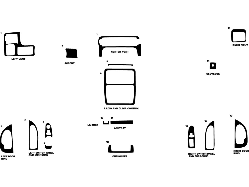 Oldsmobile Silhouette 1997-1999 Dash Kit Diagram