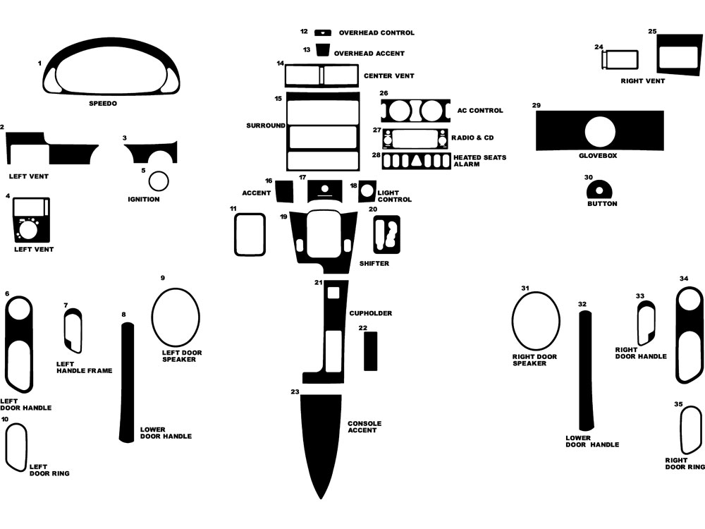 Chrysler Crossfire 2004-2008 Dash Kit Diagram