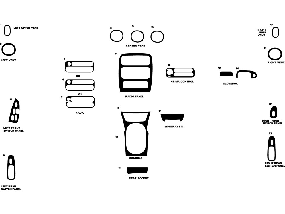 Chrysler LHS 1999-2001 Dash Kit Diagram