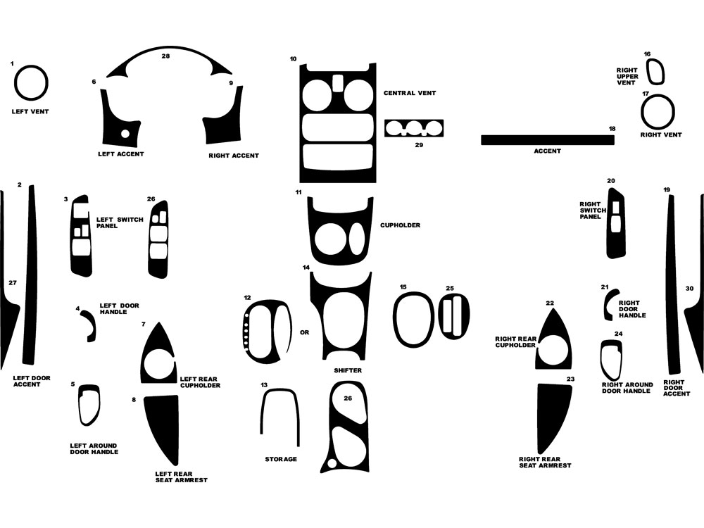Mitsubishi Eclipse 2000-2005 Dash Kit Diagram