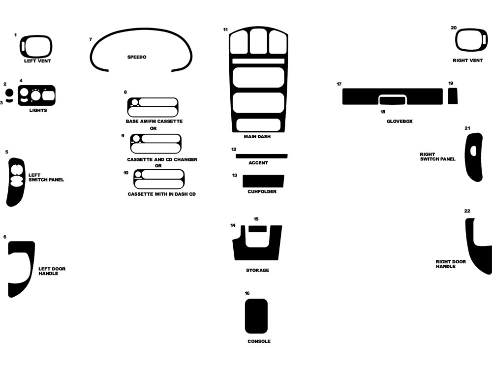 Dodge Grand Caravan 2001-2003 Dash Kit Diagram