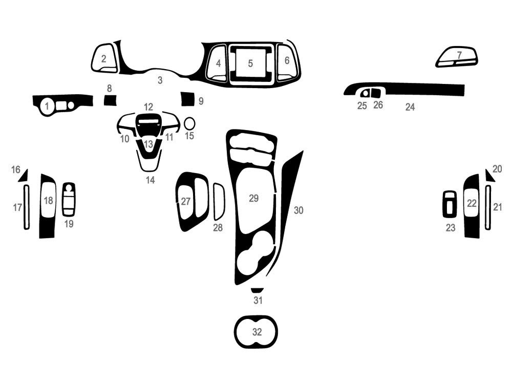 Dodge Challenger 2015-2020 Dash Kit Diagram