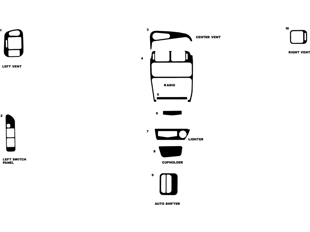 Mitsubishi Mirage 1993-1996 Dash Kit Diagram