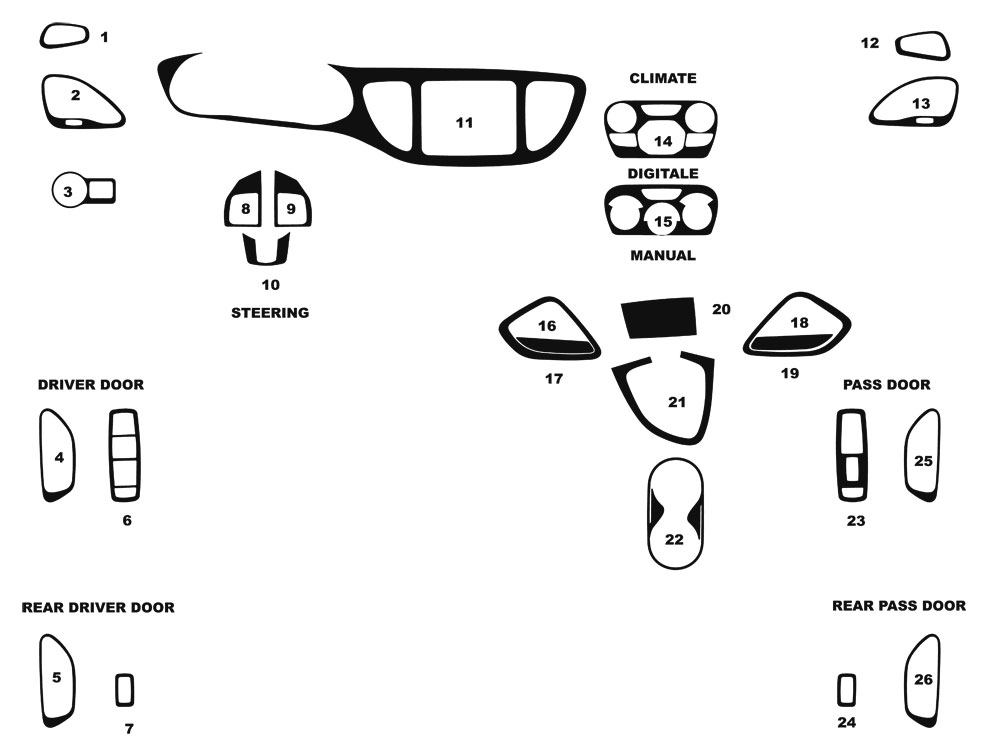 Dodge Dart 2014-2016 Dash Kit Diagram