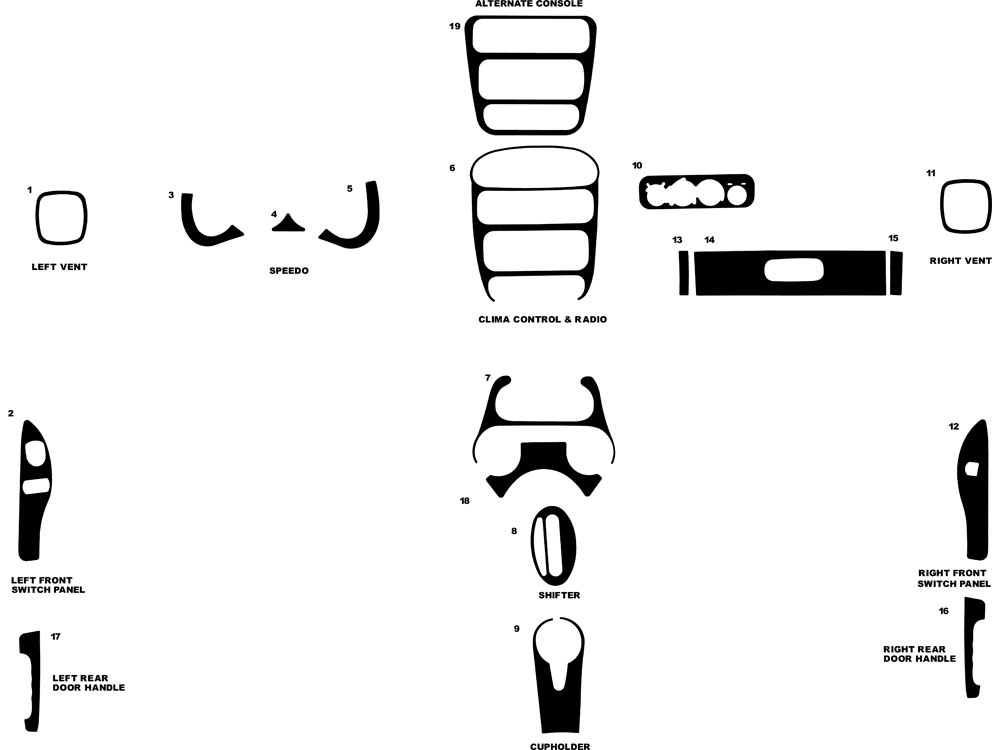 Dodge Neon 2000-2005 Dash Kit Diagram