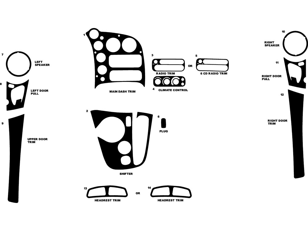 Dodge Viper 2003-2010 Dash Kit Diagram