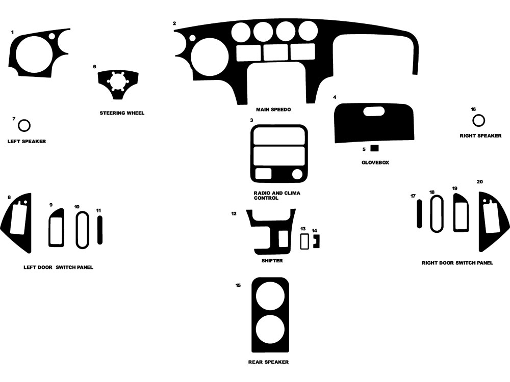 1993 dodge viper dash kits
