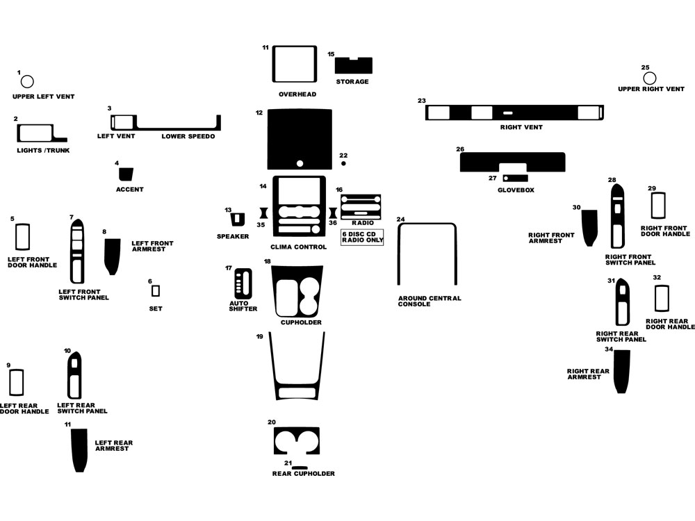 Mercury Montego 2005-2007 Dash Kit Diagram