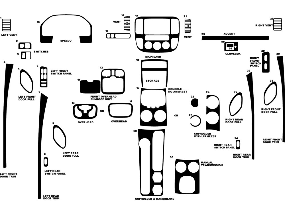 Ford Escape 2001-2007 Dash Kit Diagram