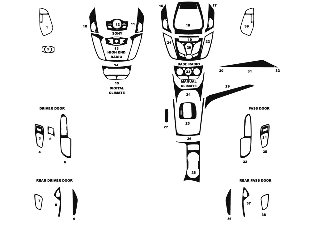 Ford Escape 2013-2016 Dash Kit Diagram