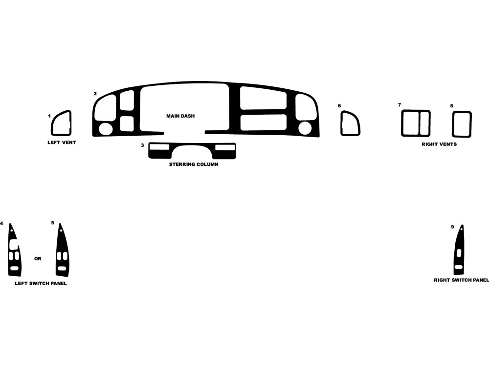 Ford E-250 1992-1997 Dash Kit Diagram