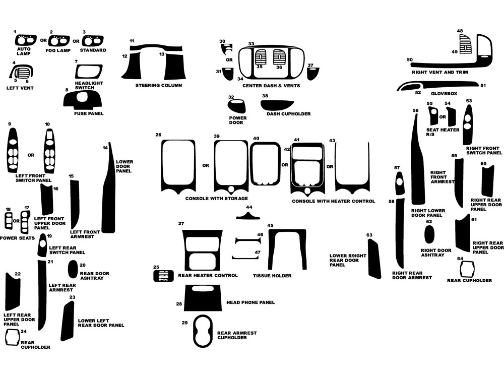 Ford Expedition 2000-2002 Dash Kit Diagram