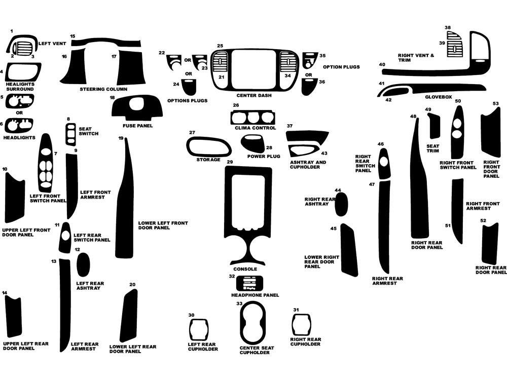 Ford Expedition 1997-1998 Dash Kit Diagram