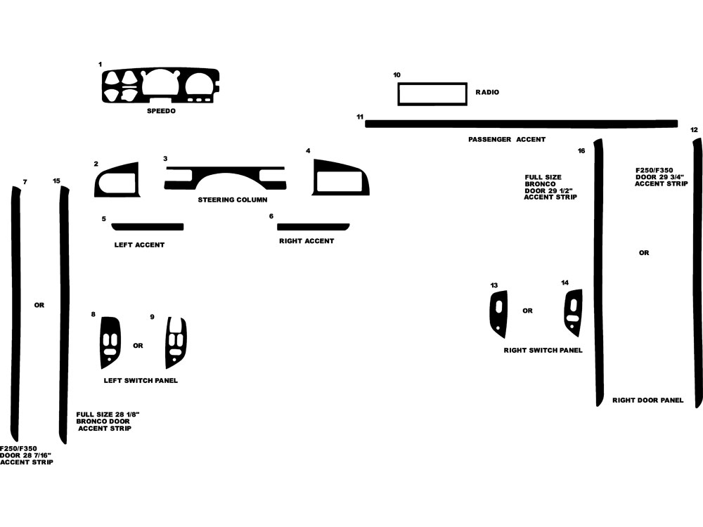 Ford Bronco 1987-1996 Dash Kit Diagram